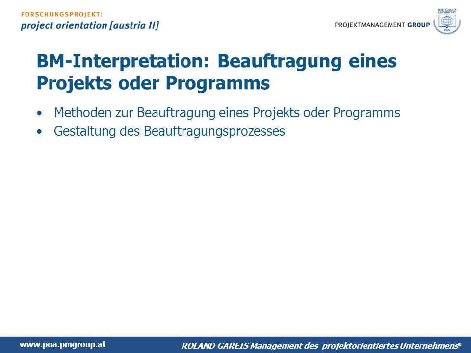 BM-Interpretation: Beauftragung eines Projekts oder Programms