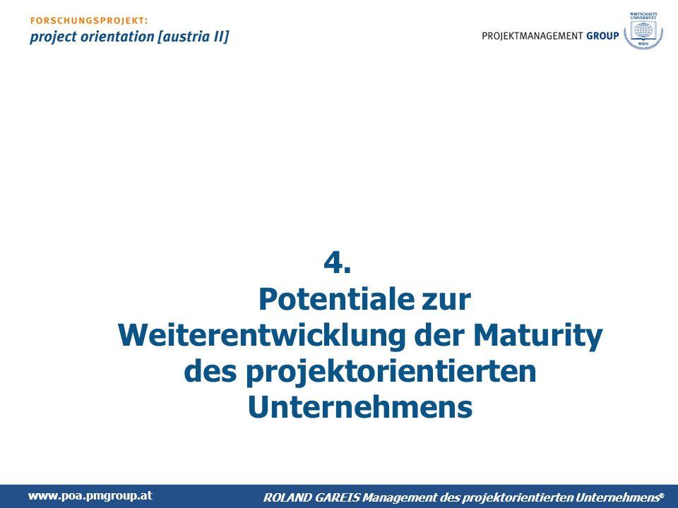 4. Potentiale zur Weiterentwicklung der Maturity des projektorientierten Unternehmens