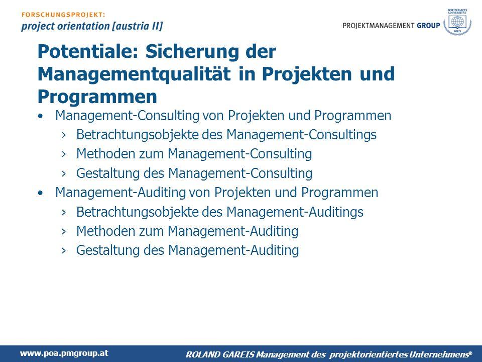 Potentiale: Sicherung der Managementqualität in Projekten und Programmen