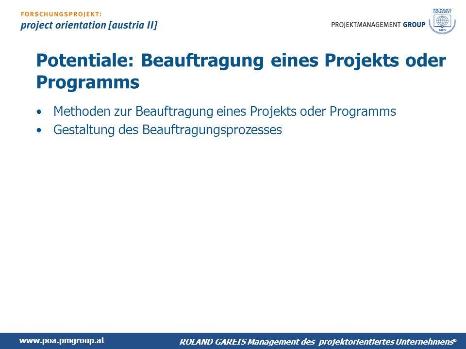 Potentiale: Beauftragung eines Projekts oder Programms