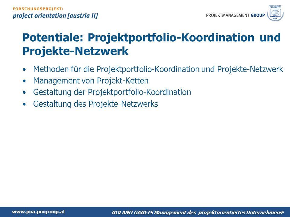 Potentiale: Projektportfolio-Koordination und Projekte-Netzwerk