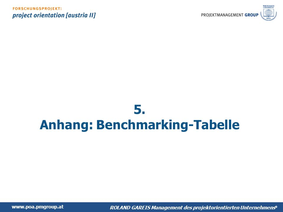 5. Anhang: Benchmarking-Tabelle