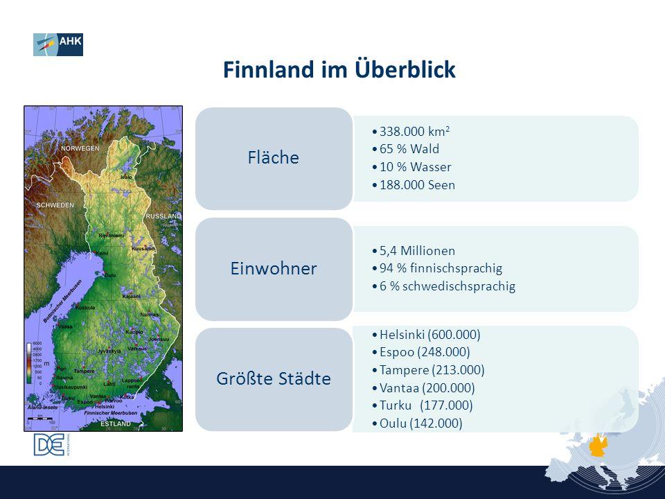 Finnland im Überblick Fläche Einwohner Größte Städte 338.000 km2