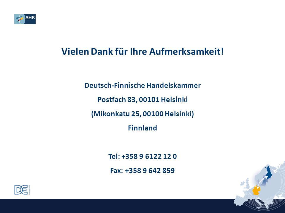 Vielen Dank für Ihre Aufmerksamkeit! Deutsch-Finnische Handelskammer
