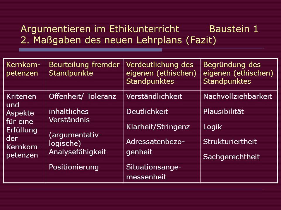 Argumentieren im Ethikunterricht. Baustein 1 2