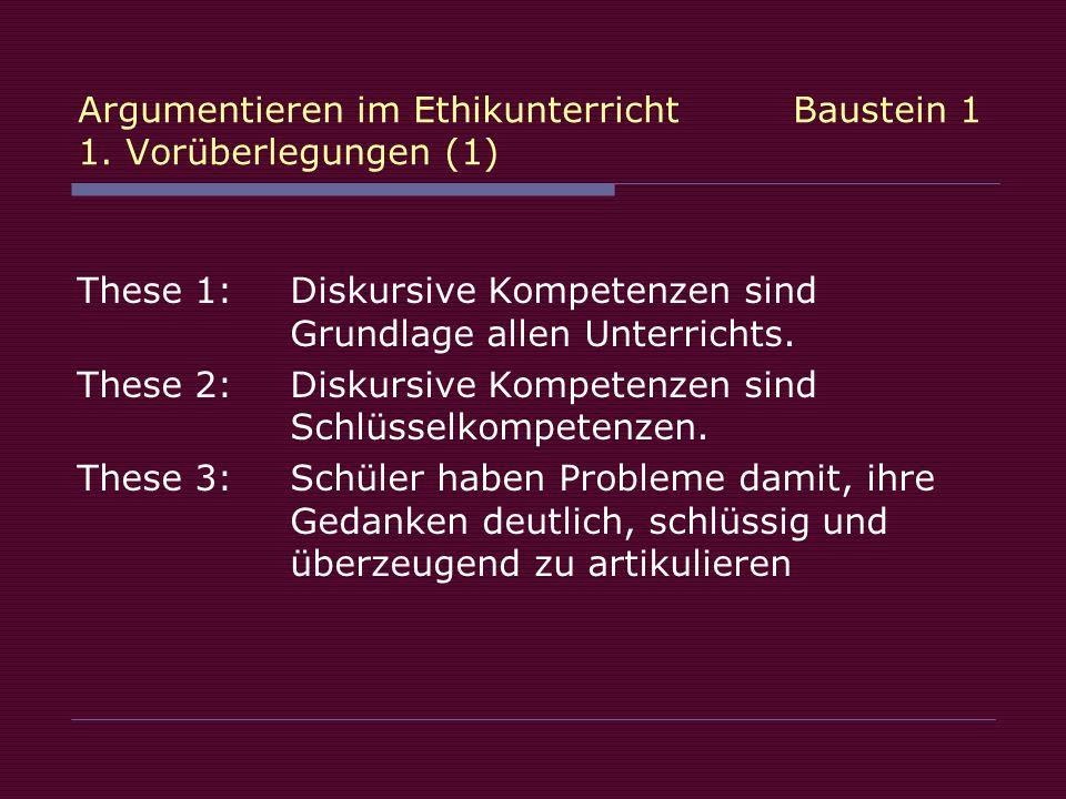 Argumentieren im Ethikunterricht Baustein 1 1. Vorüberlegungen (1)