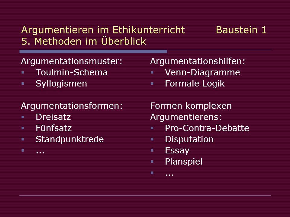 Argumentieren im Ethikunterricht Baustein 1 5. Methoden im Überblick