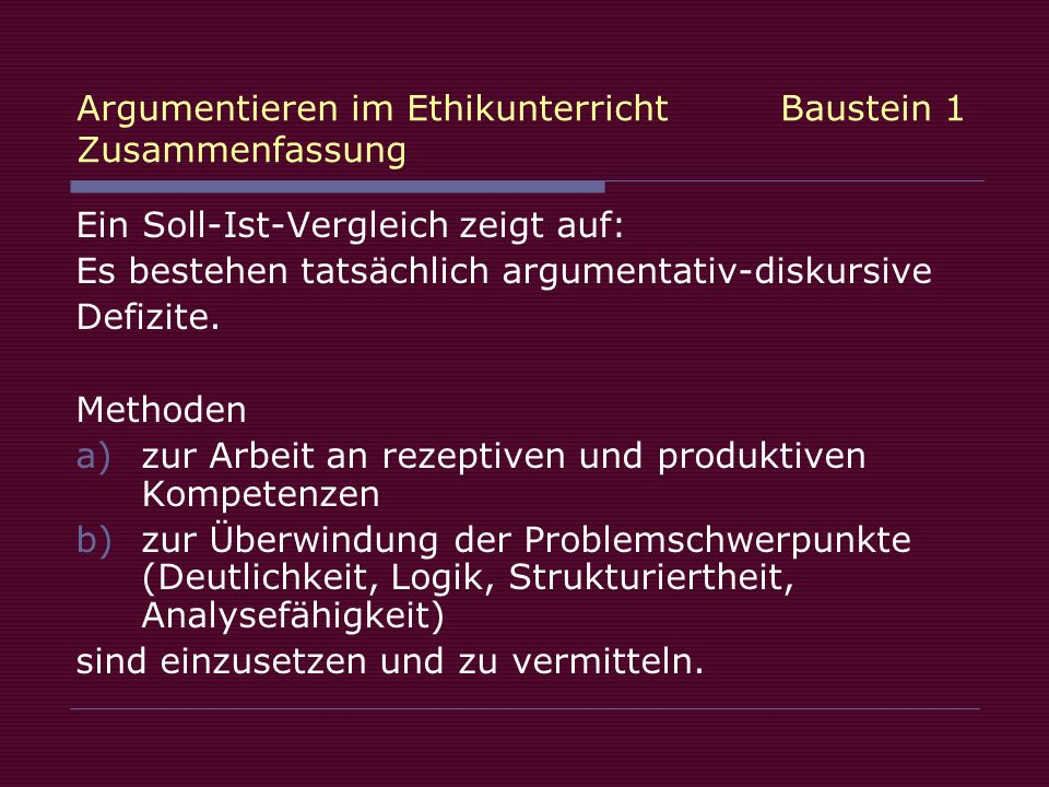 Argumentieren im Ethikunterricht Baustein 1 Zusammenfassung