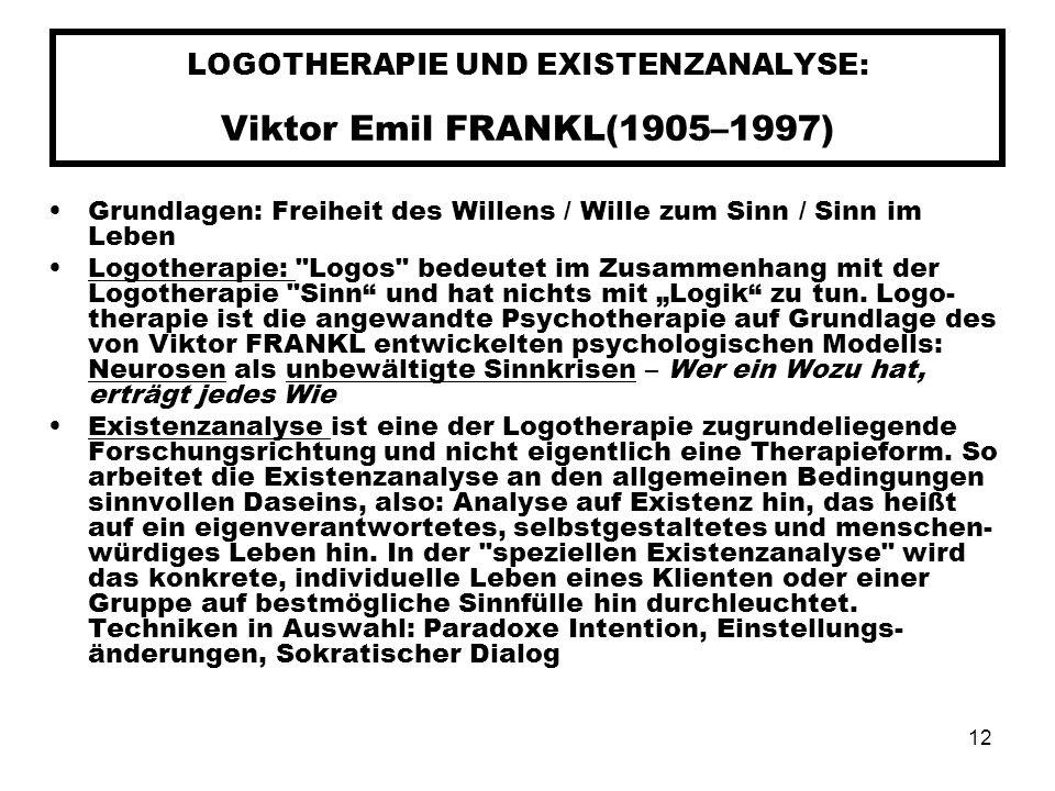 LOGOTHERAPIE UND EXISTENZANALYSE: Viktor Emil FRANKL(1905–1997)