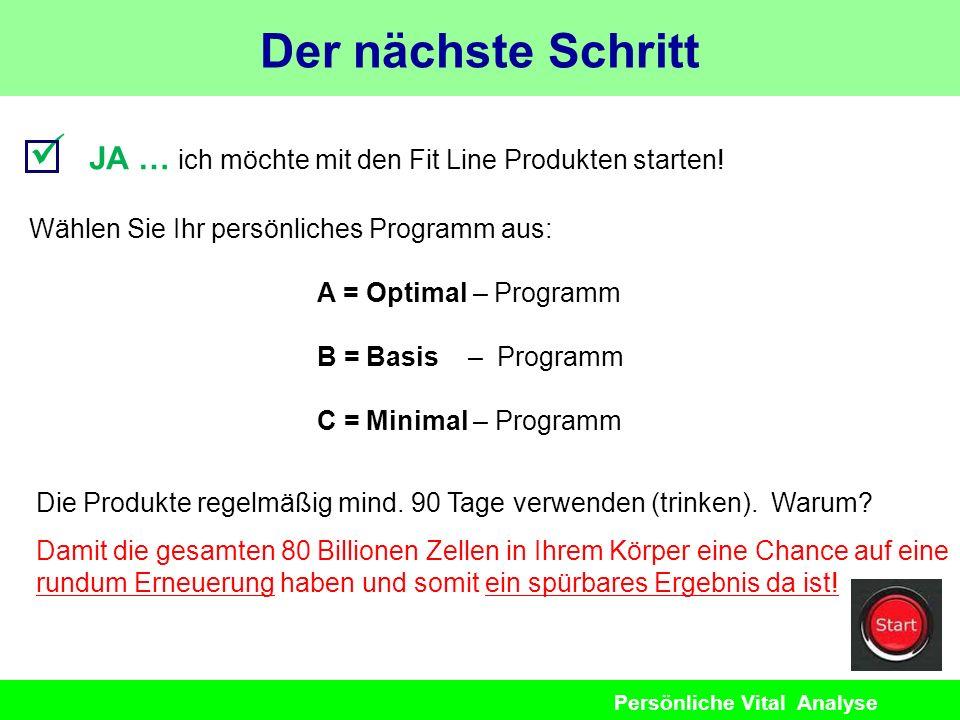 Der nächste Schritt  JA … ich möchte mit den Fit Line Produkten starten! Wählen Sie Ihr persönliches Programm aus: