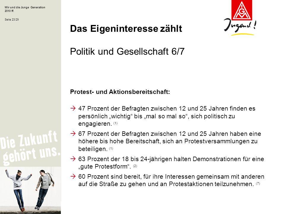 Das Eigeninteresse zählt Politik und Gesellschaft 6/7