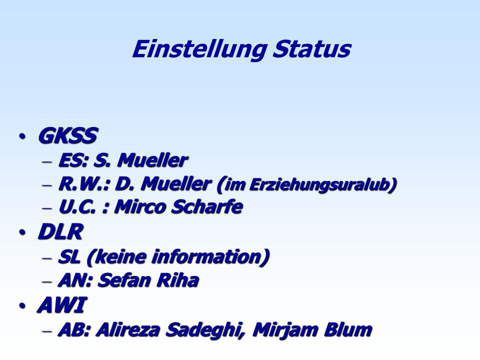Einstellung Status GKSS DLR AWI ES: S. Mueller