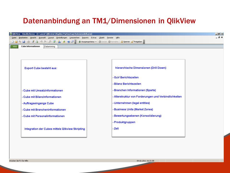 Datenanbindung an TM1/Dimensionen in QlikView