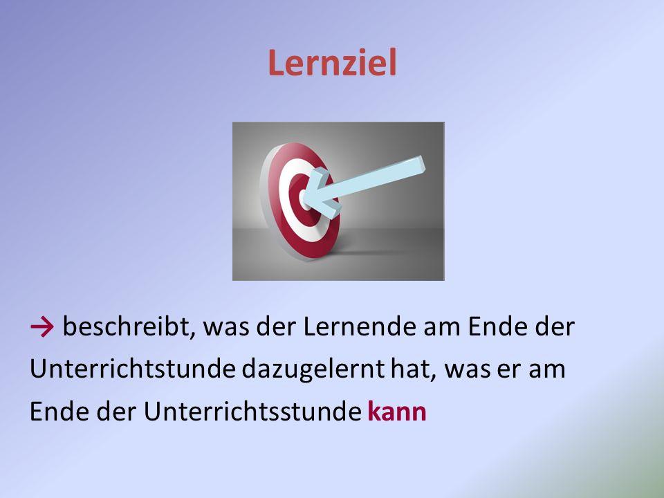 Lernziel → beschreibt, was der Lernende am Ende der