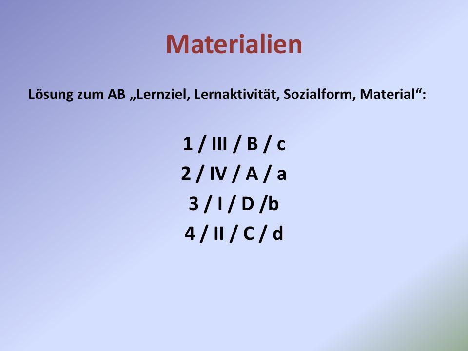 Materialien 1 / III / B / c 2 / IV / A / a 3 / I / D /b 4 / II / C / d
