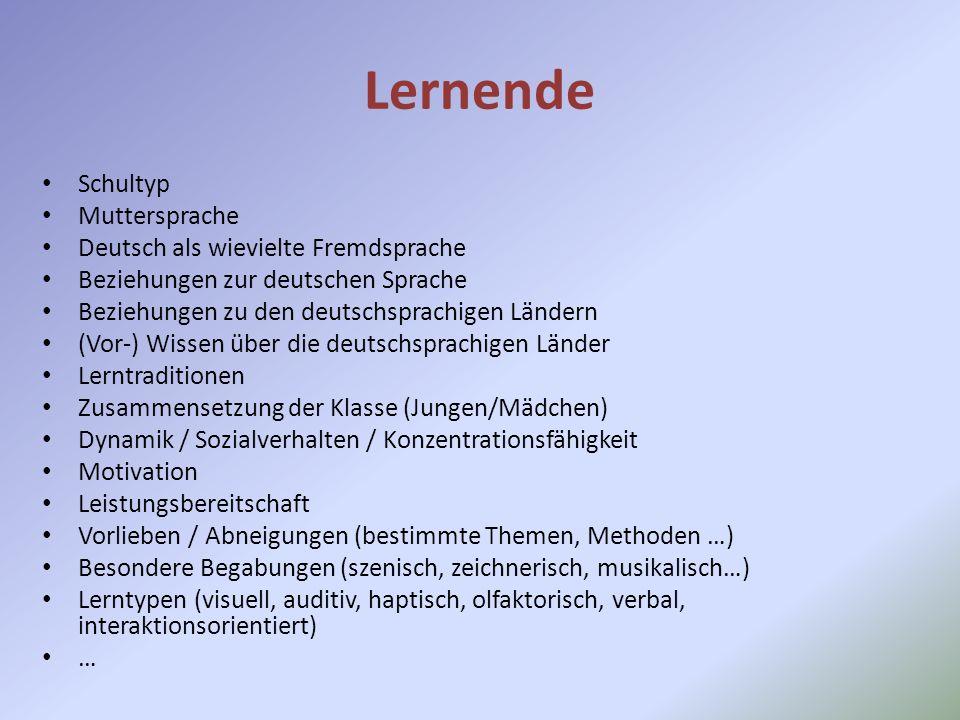 Lernende Schultyp Muttersprache Deutsch als wievielte Fremdsprache