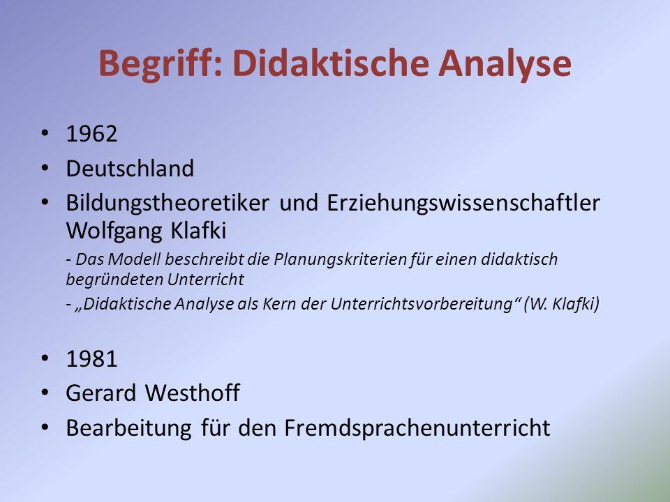 Begriff: Didaktische Analyse