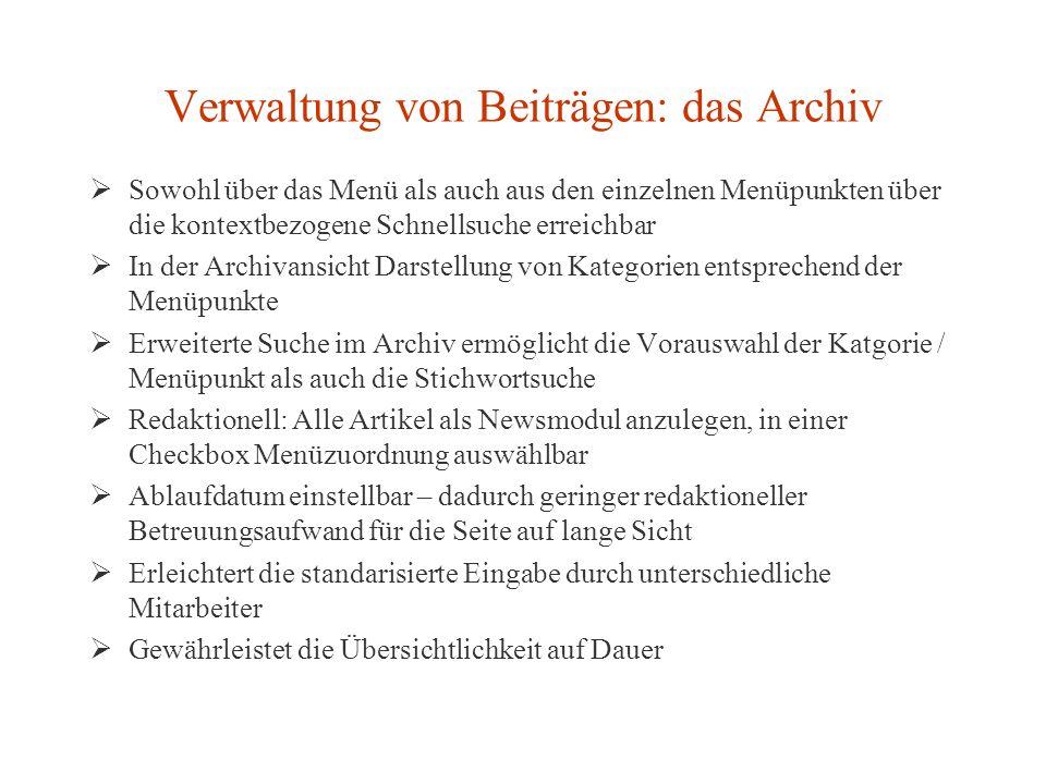 Verwaltung von Beiträgen: das Archiv