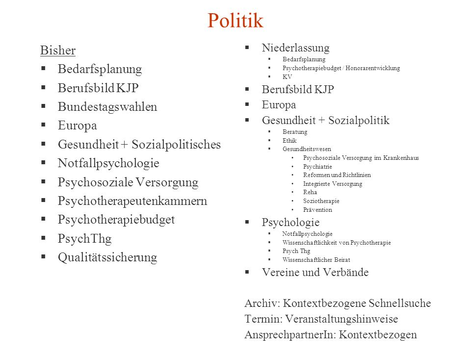 Politik Bisher Bedarfsplanung Berufsbild KJP Bundestagswahlen Europa