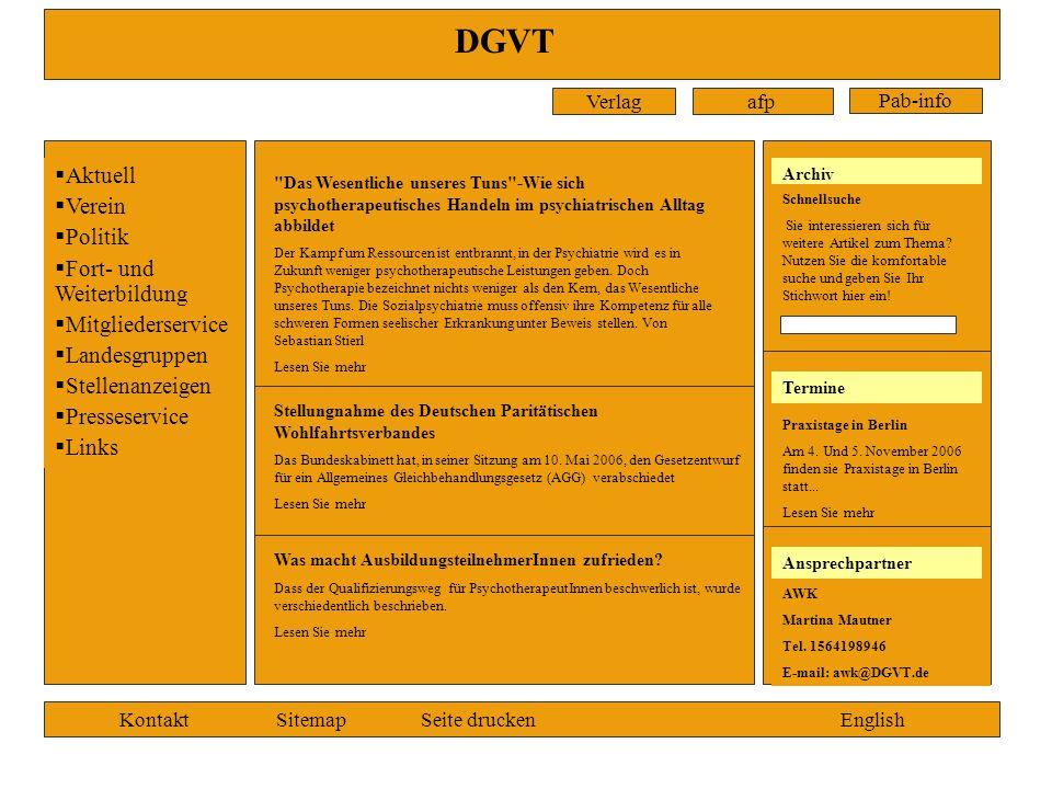 DGVT Aktuell Verein Politik Fort- und Weiterbildung Mitgliederservice