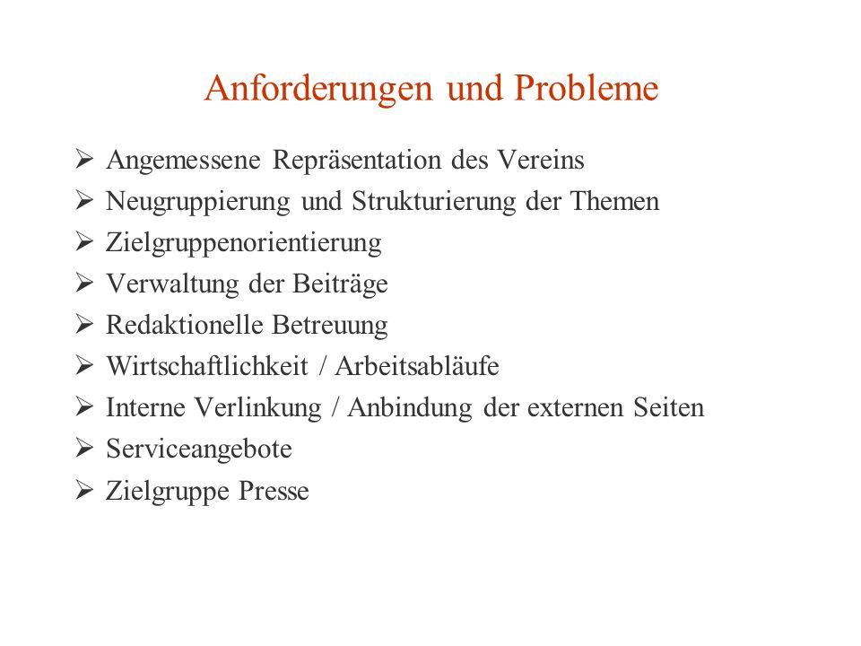 Anforderungen und Probleme