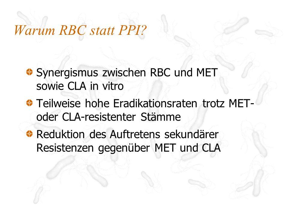 Warum RBC statt PPI Synergismus zwischen RBC und MET sowie CLA in vitro. Teilweise hohe Eradikationsraten trotz MET-oder CLA-resistenter Stämme.