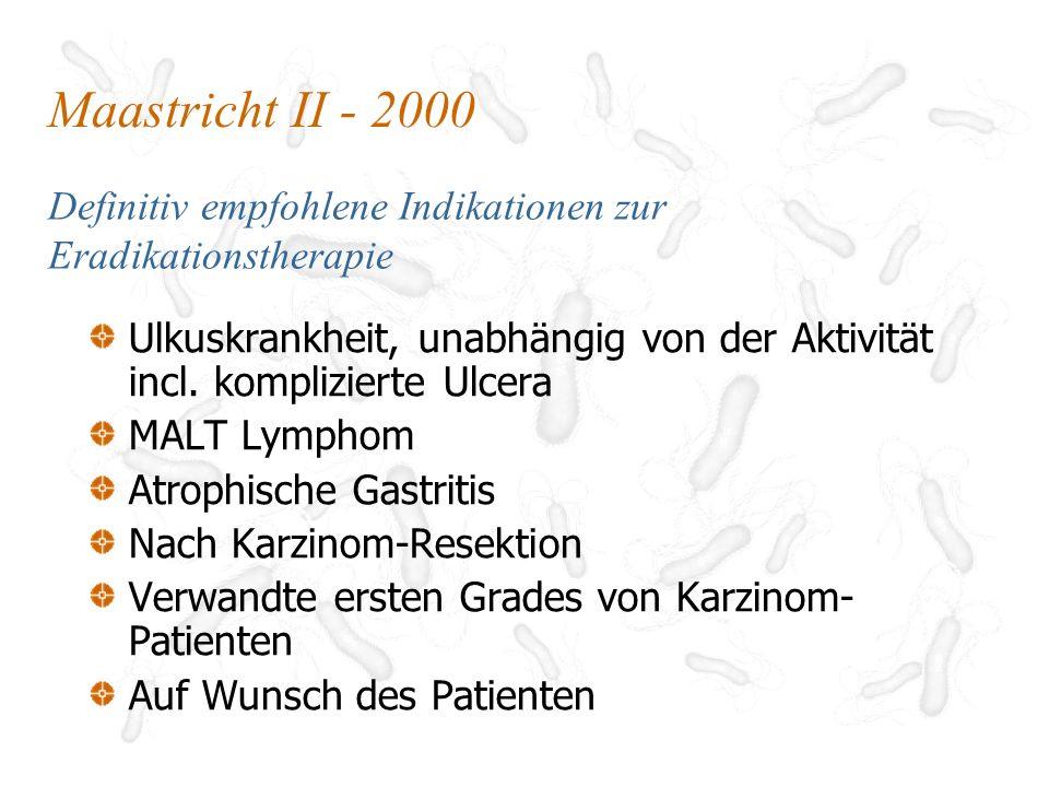 Maastricht II - 2000 Definitiv empfohlene Indikationen zur Eradikationstherapie.