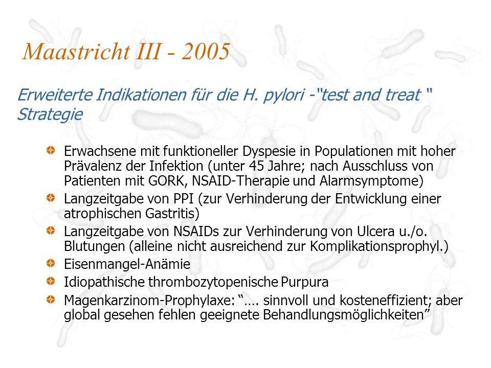 Maastricht III - 2005 Erweiterte Indikationen für die H. pylori - test and treat Strategie.