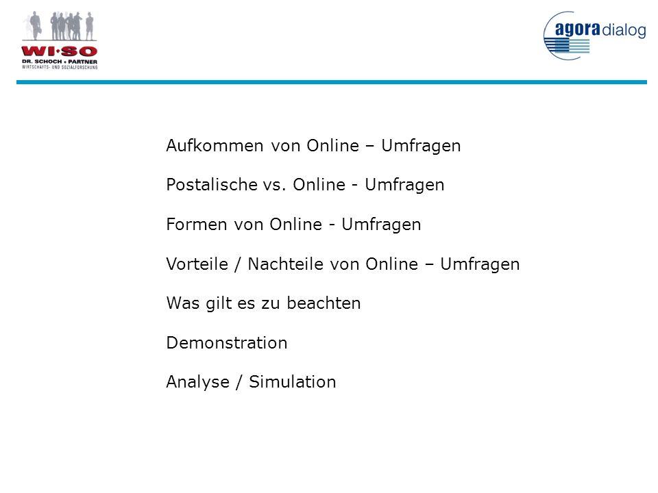 Aufkommen von Online – Umfragen