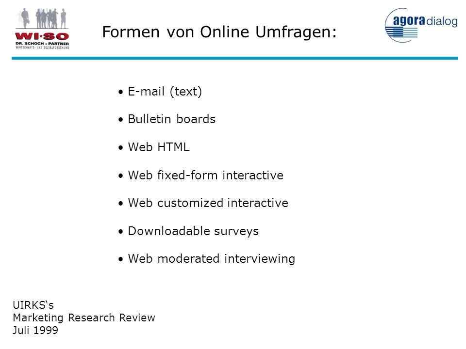 Formen von Online Umfragen: