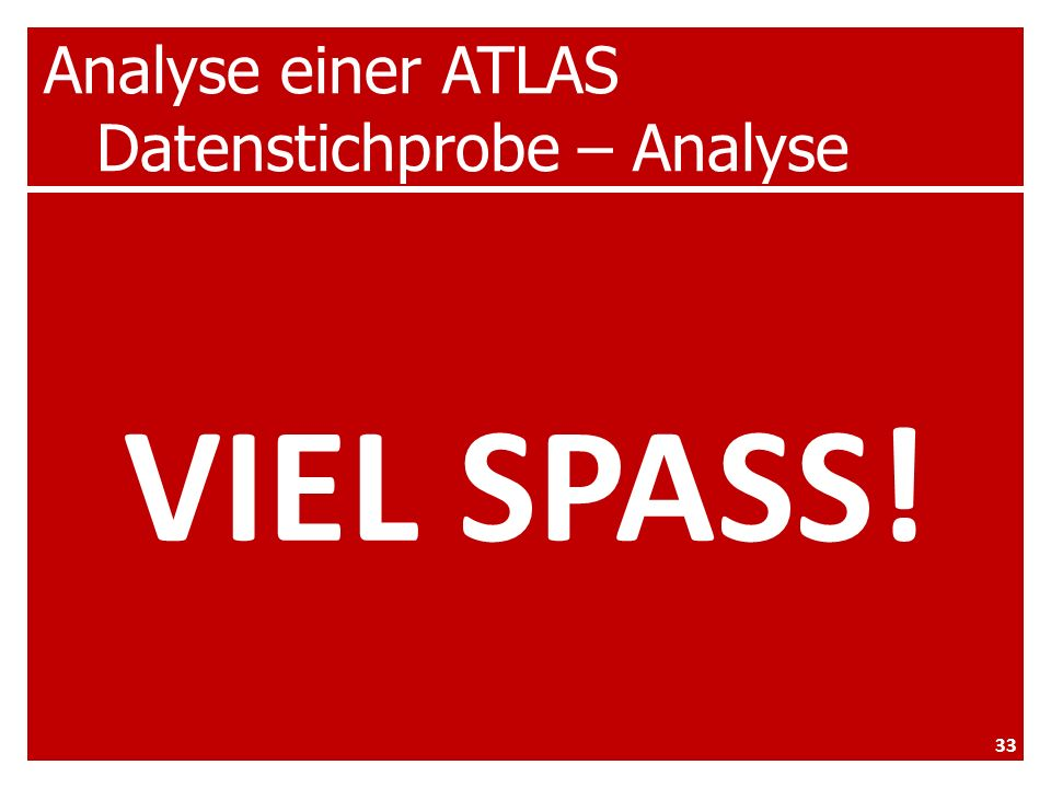 Analyse einer ATLAS Datenstichprobe – Analyse