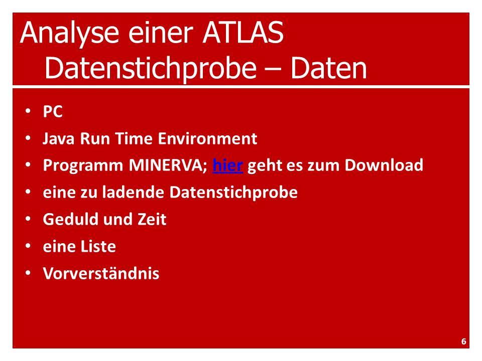 Analyse einer ATLAS Datenstichprobe – Daten