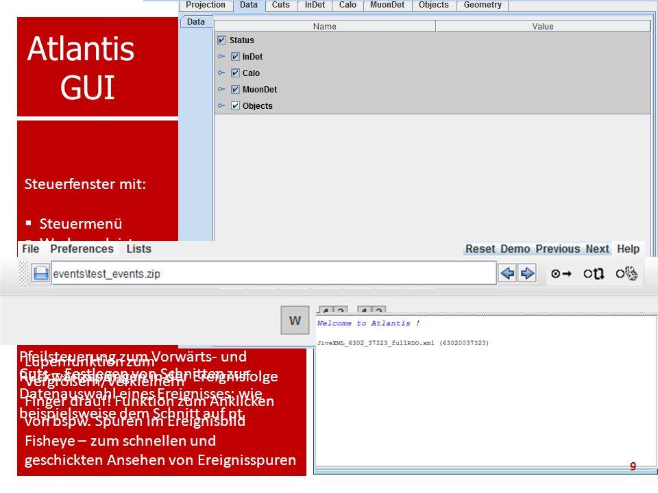 Atlantis GUI Steuerfenster mit: Steuermenü Werkzeugleiste
