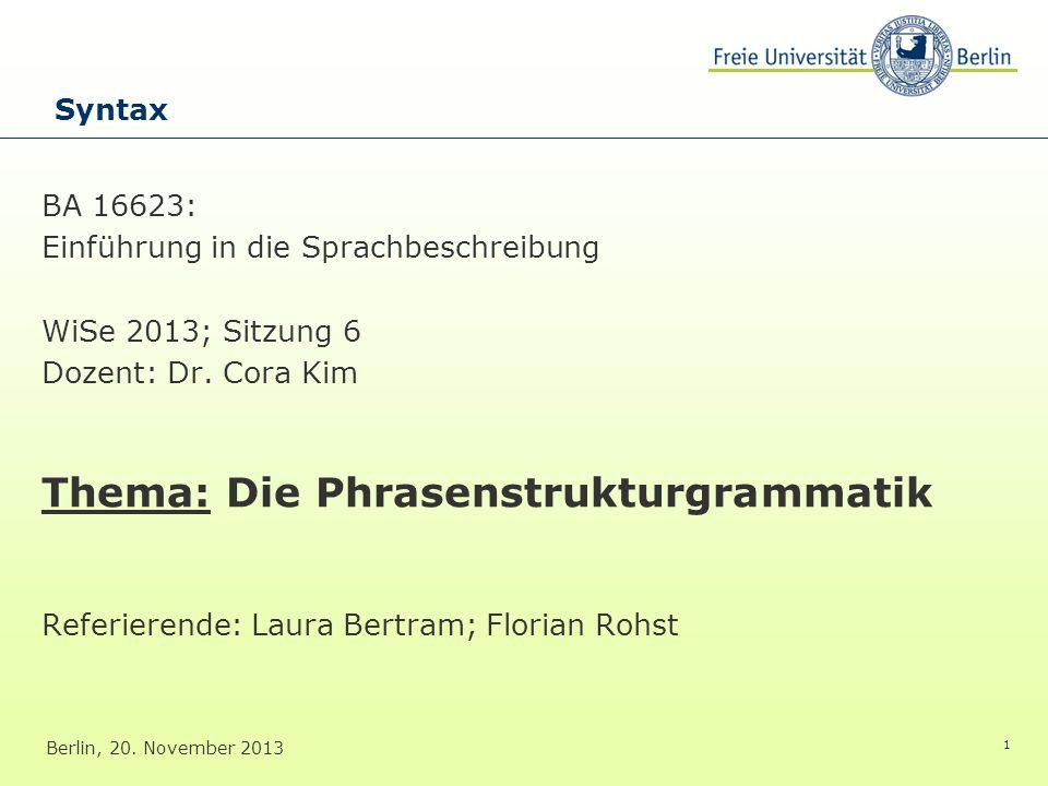 Thema: Die Phrasenstrukturgrammatik