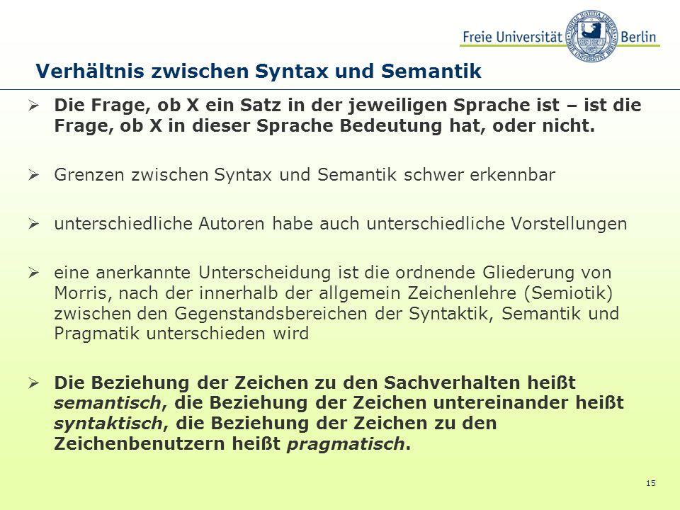 Verhältnis zwischen Syntax und Semantik