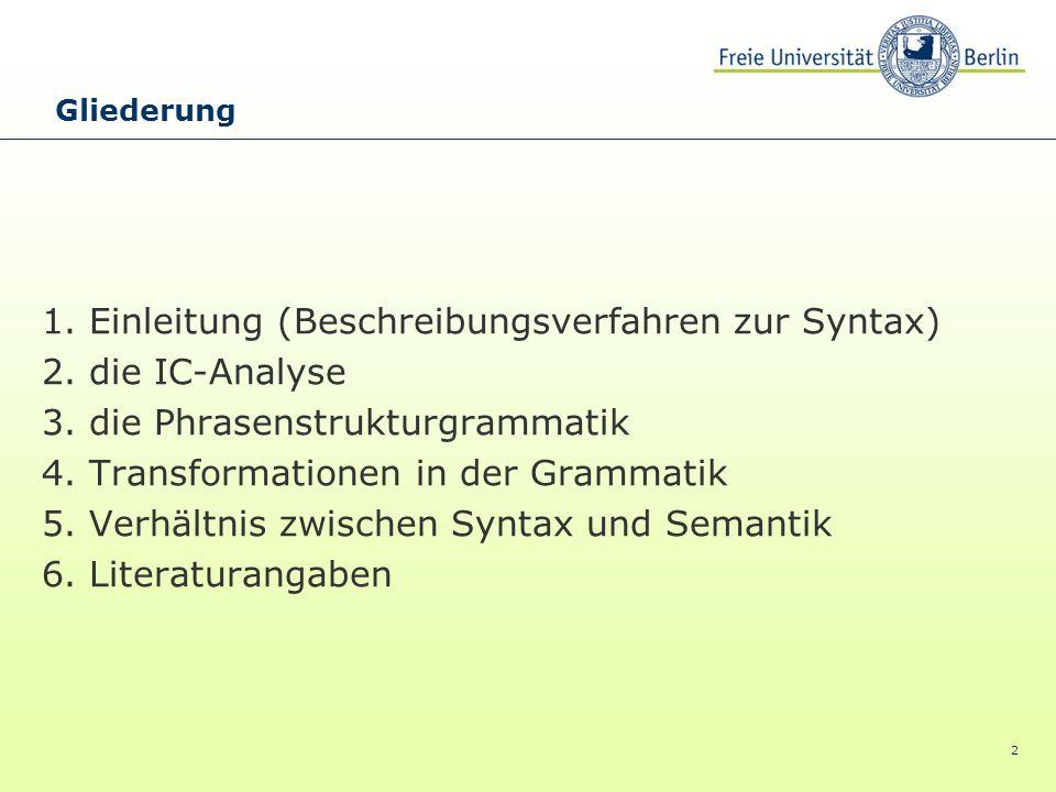 1. Einleitung (Beschreibungsverfahren zur Syntax) 2. die IC-Analyse