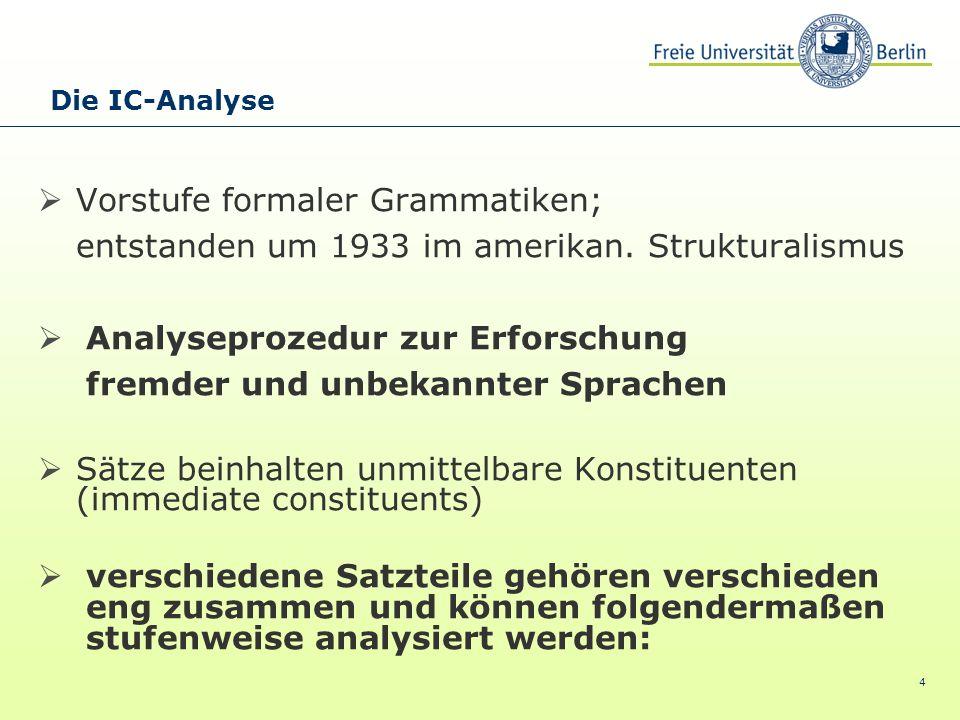 Vorstufe formaler Grammatiken;