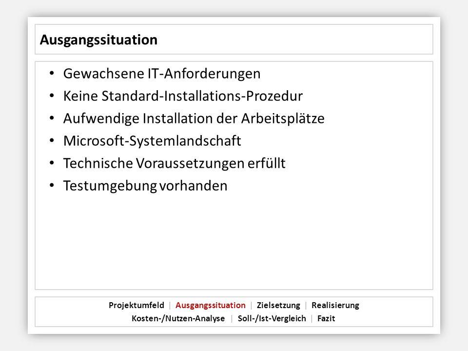 Gewachsene IT-Anforderungen Keine Standard-Installations-Prozedur