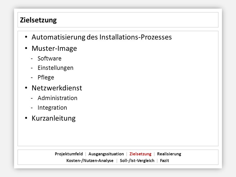 Automatisierung des Installations-Prozesses Muster-Image