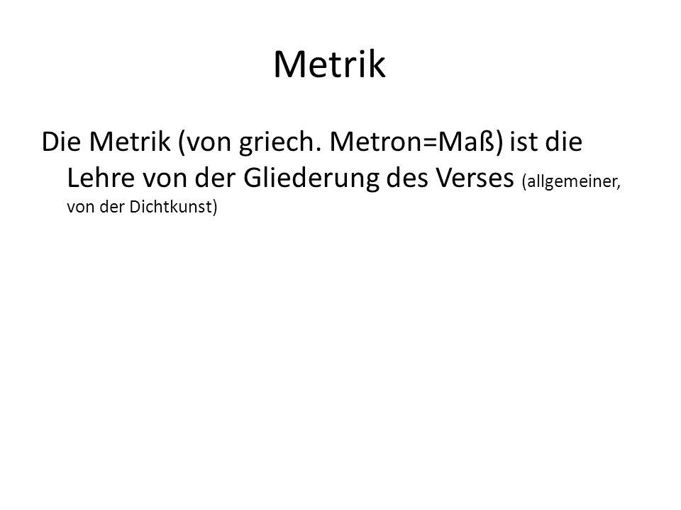 Metrik Die Metrik (von griech.