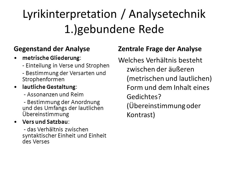 Lyrikinterpretation / Analysetechnik 1.)gebundene Rede