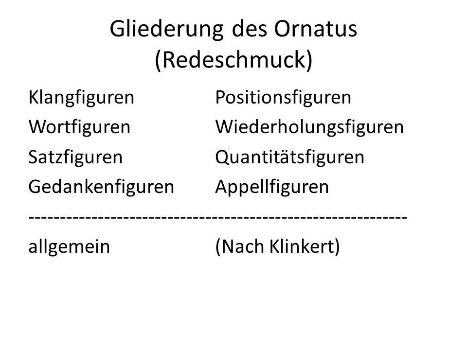 Gliederung des Ornatus (Redeschmuck)