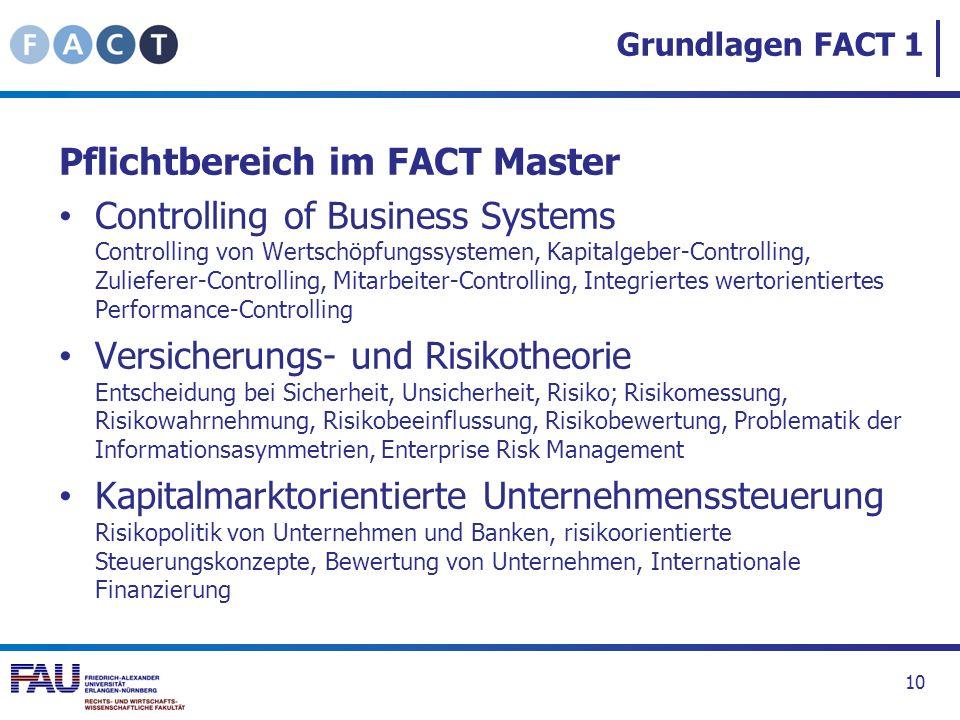 Pflichtbereich im FACT Master