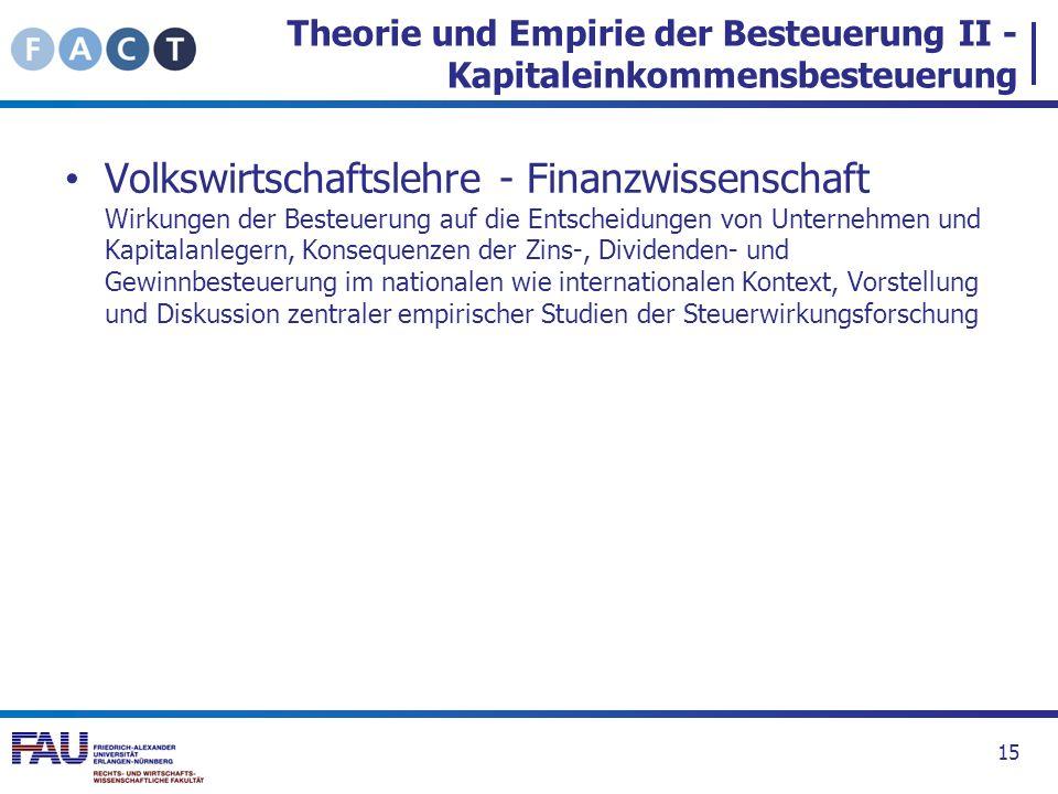 Theorie und Empirie der Besteuerung II - Kapitaleinkommensbesteuerung