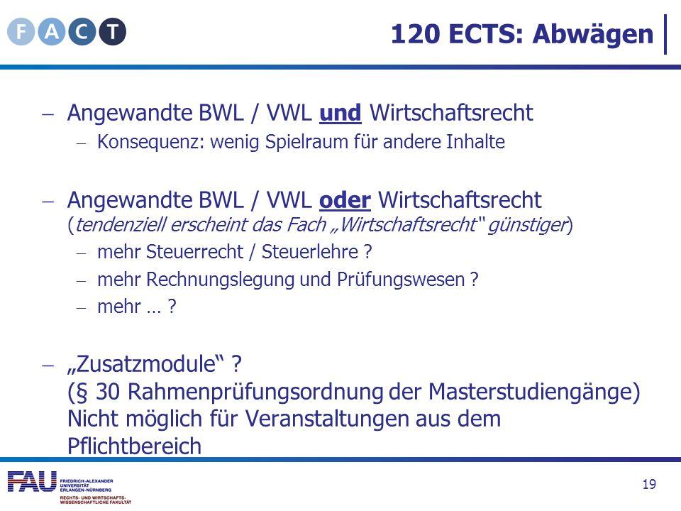 120 ECTS: Abwägen Angewandte BWL / VWL und Wirtschaftsrecht