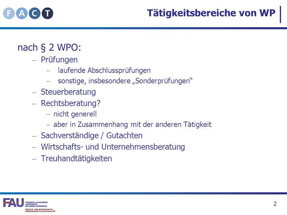Tätigkeitsbereiche von WP