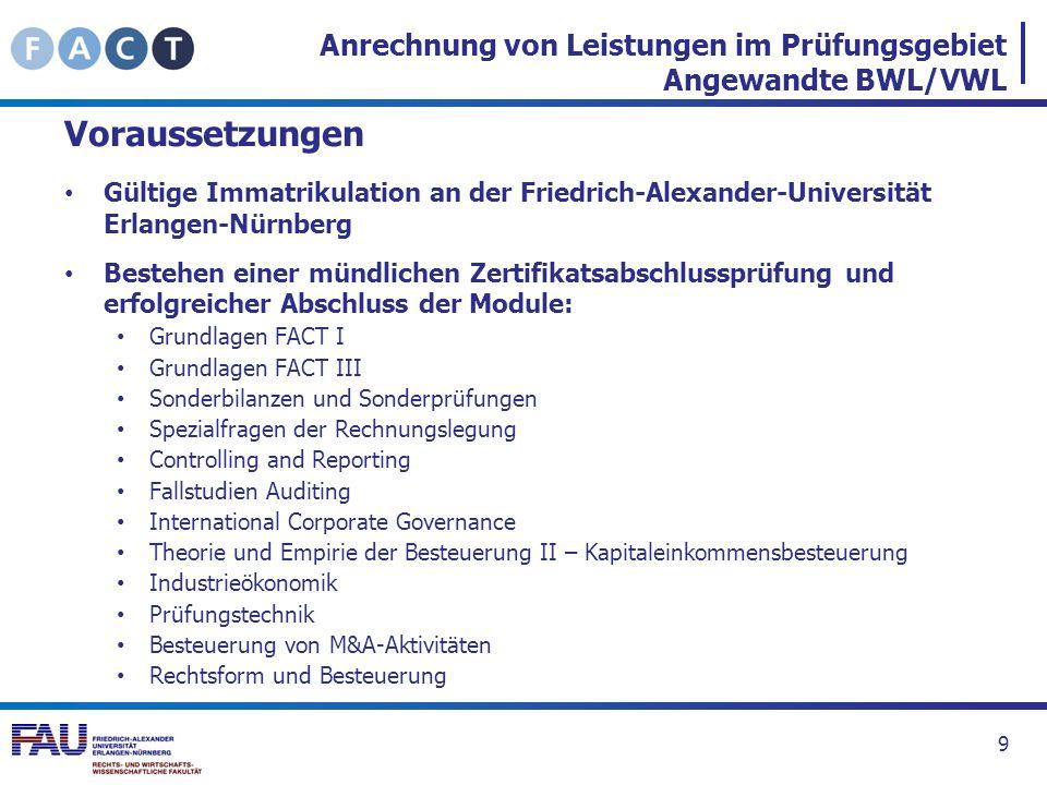 Anrechnung von Leistungen im Prüfungsgebiet Angewandte BWL/VWL