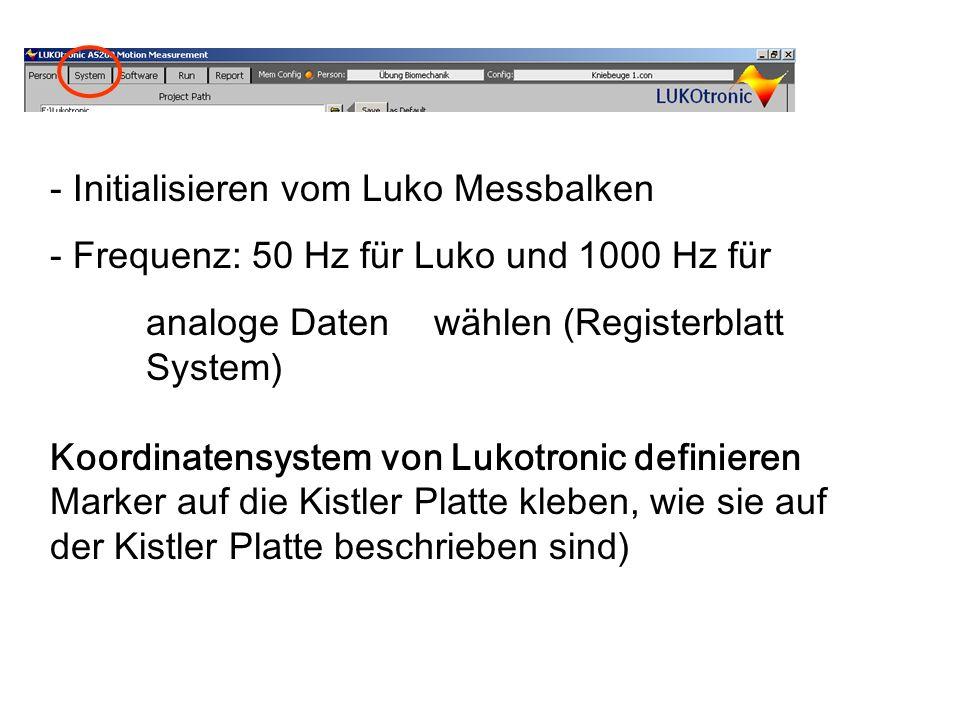 Initialisieren vom Luko Messbalken