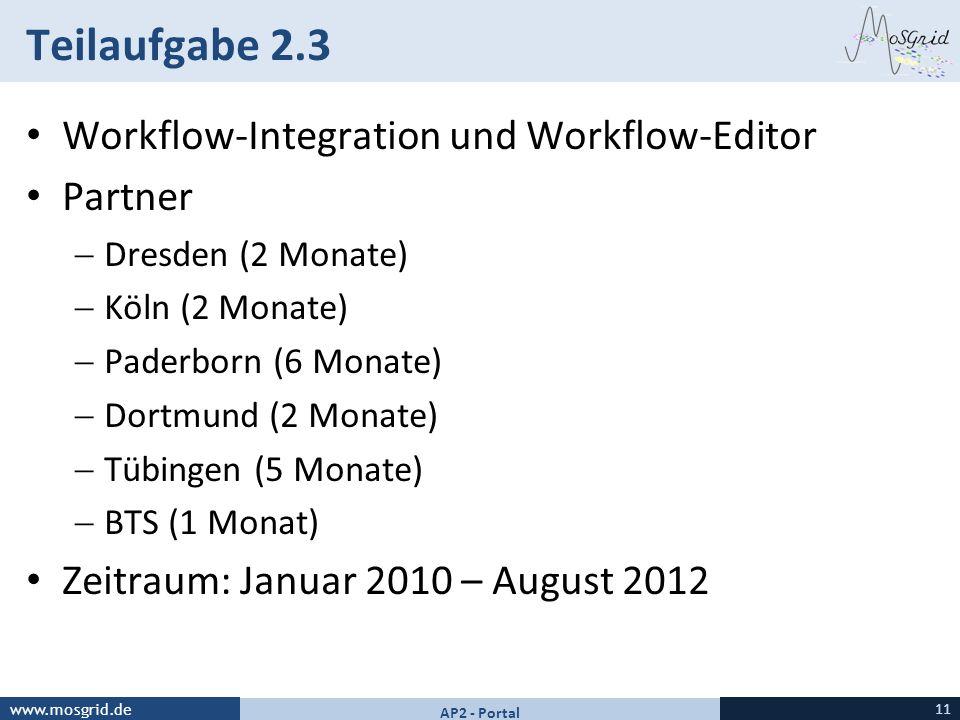 Teilaufgabe 2.3 Workflow-Integration und Workflow-Editor Partner