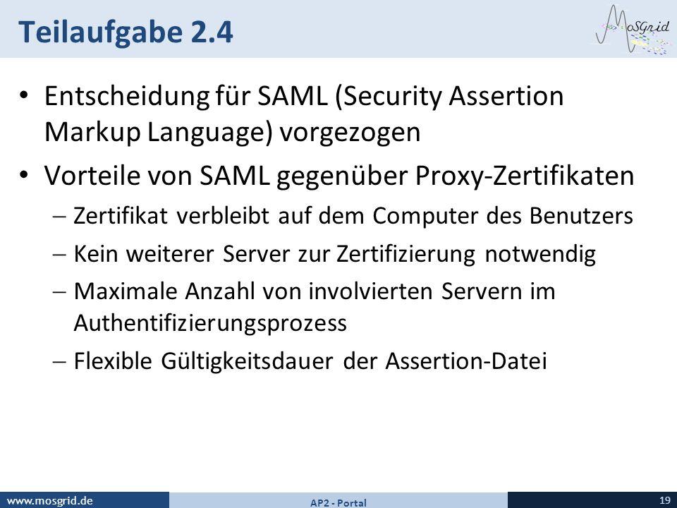 Teilaufgabe 2.4 Entscheidung für SAML (Security Assertion Markup Language) vorgezogen. Vorteile von SAML gegenüber Proxy-Zertifikaten.